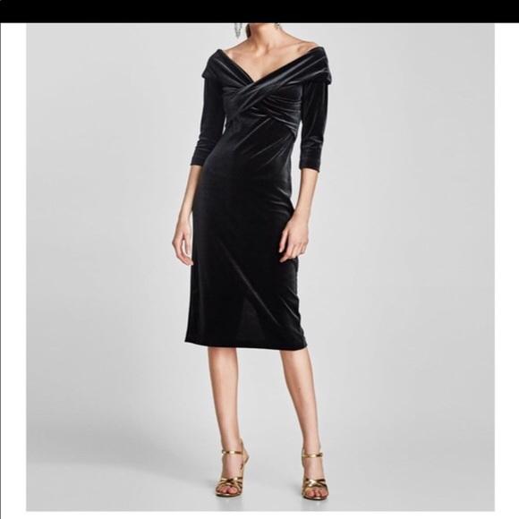 6f638abc Zara Dresses | Velvet Tube Dress With Crossover Neckline | Poshmark